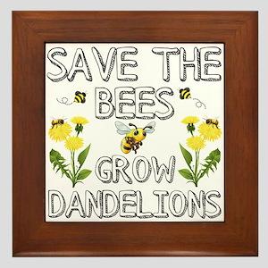 Save The Bees Grow Dandelions Framed Tile