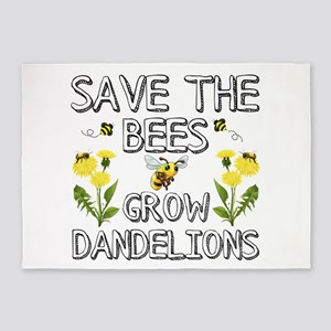 Save The Bees Grow Dandelions 5'x7'Area Rug