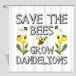 Save The Bees Grow Dandelions Shower Curtain