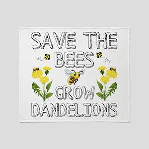 Save The Bees Grow Dandelions Throw Blanket