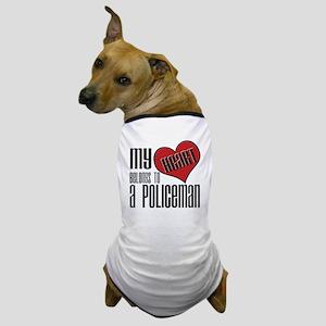 Heart Belongs Policeman Dog T-Shirt