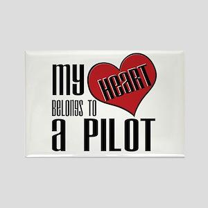 Heart Belongs Pilot Rectangle Magnet