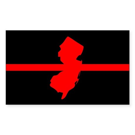 New Jersey Thin Red Line Sticker (Rectangle)