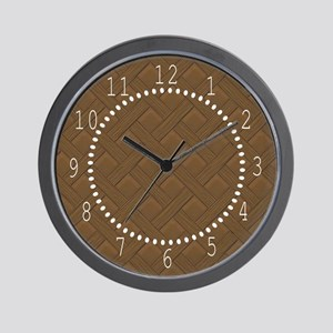 Brown Trellis White Numbers Wall Clock