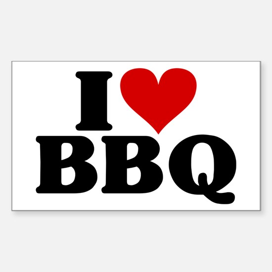 I Heart BBQ Sticker (Rectangle)