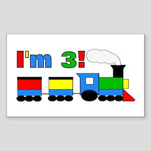 I'm 3! Train Sticker (Rectangle)