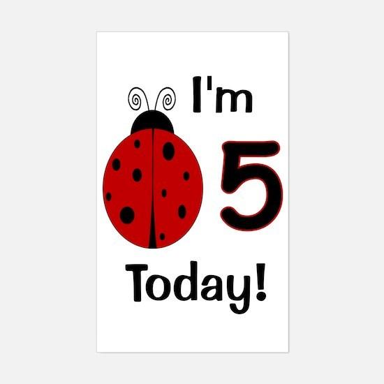 Ladybug I'm 5 Today! Sticker (Rectangle)