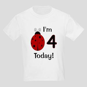 Ladybug I'm 4 Today! Kids Light T-Shirt