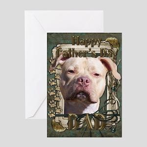 Stone Paws Pitbull - Jersey G Greeting Card