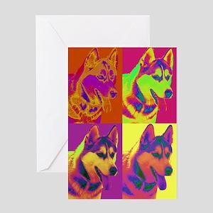 Op Art Siberian Husky Greeting Card