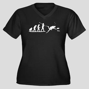 Scuba Diving Women's Plus Size V-Neck Dark T-Shirt
