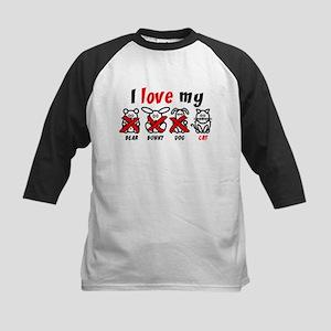 I Love My Cat XXX Kids Baseball Jersey