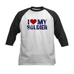 I heart love my Soldier Army Kids Baseball Jersey