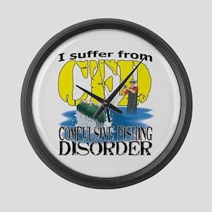 CFD - Compulsive Fishing Disorder Large Wall Clock