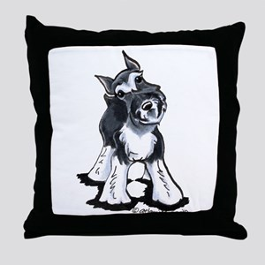 Playful Schnauzer Throw Pillow