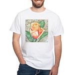 Peach Rose Watercolor White T-Shirt