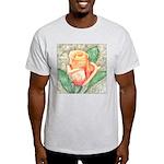 Peach Rose Watercolor Ash Grey T-Shirt