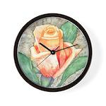 Peach Rose Watercolor Wall Clock