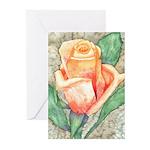 Peach Rose Watercolor Greeting Cards (Pk of 10)