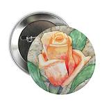 Peach Rose Watercolor Button
