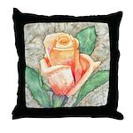 Peach Rose Watercolor Throw Pillow