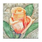 Peach Rose Watercolor Tile Coaster