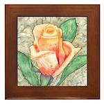 Peach Rose Watercolor Framed Tile
