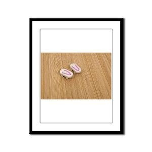 Pink Geta Sandals on mat Framed Panel Print