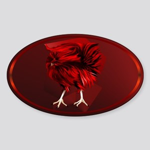 Big, Red Rooster Sticker (Oval)