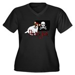 Pirate Jack Russell Women's Plus Size V-Neck Dark