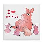 I Love Kids (Pig) Tile Coaster