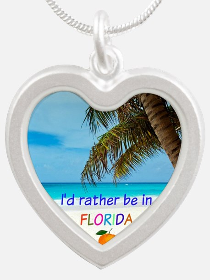 Cute Florida Silver Heart Necklace