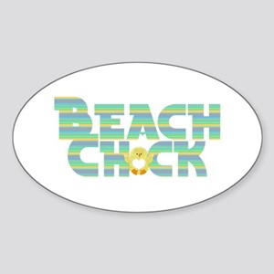 Beach Chick Sticker (Oval)