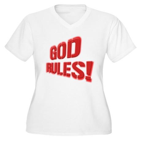 God Rules! Women's Plus Size V-Neck T-Shirt
