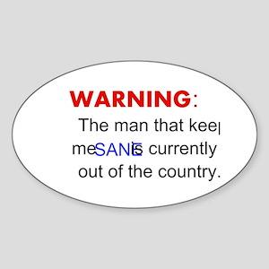 Warning center white Sticker