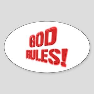 God Rules! Sticker (Oval)
