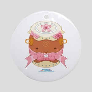 Kawaii Female Taiko Drum Ornament (Round)
