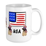 Patriotic USA Pug Dogs Large Mug