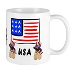 Patriotic USA Pug Dogs Mug
