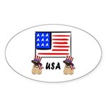 Patriotic USA Pug Dogs Sticker (Oval 10 pk)