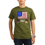 Patriotic USA Pug Dogs Organic Men's T-Shirt (dark