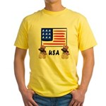Patriotic USA Pug Dogs Yellow T-Shirt