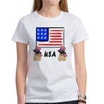 Patriotic USA Pug Dogs Women's T-Shirt