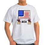 Patriotic USA Pug Dogs Light T-Shirt