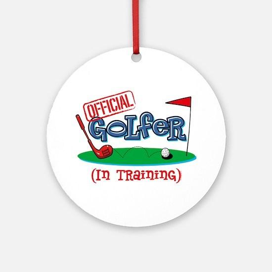 Boy Golfer In Training Ornament (Round)