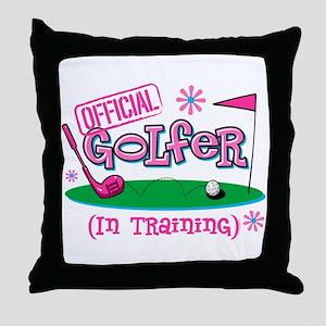 Girl Golfer In Training Throw Pillow