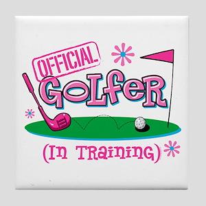 Girl Golfer In Training Tile Coaster
