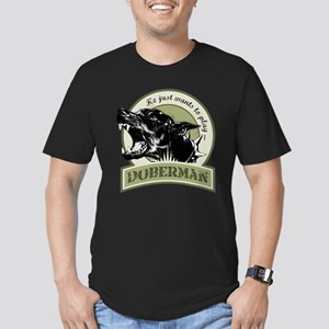 Doberman army green Men's Fitted T-Shirt (dark)