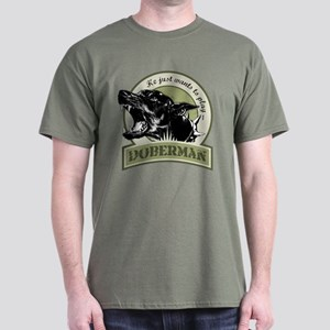 Doberman army green Dark T-Shirt