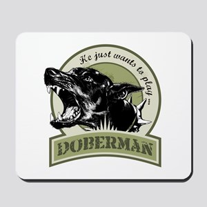 Doberman army green Mousepad